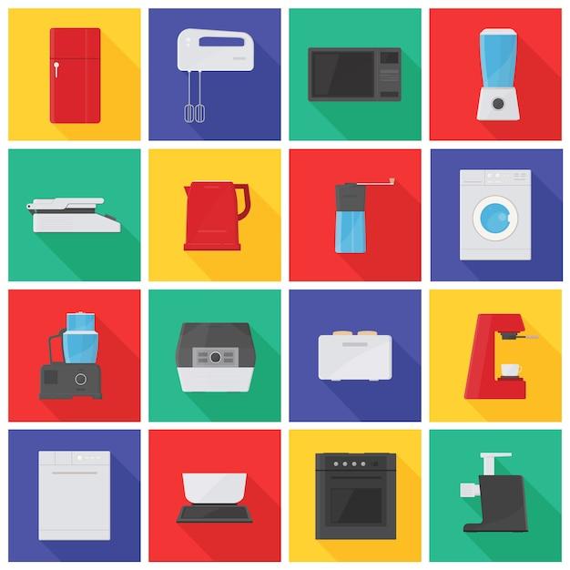 Collectie iconen of pictogrammen met keukenapparatuur, apparatuur, handmatige en elektrische gereedschappen voor voedselverwerking Premium Vector