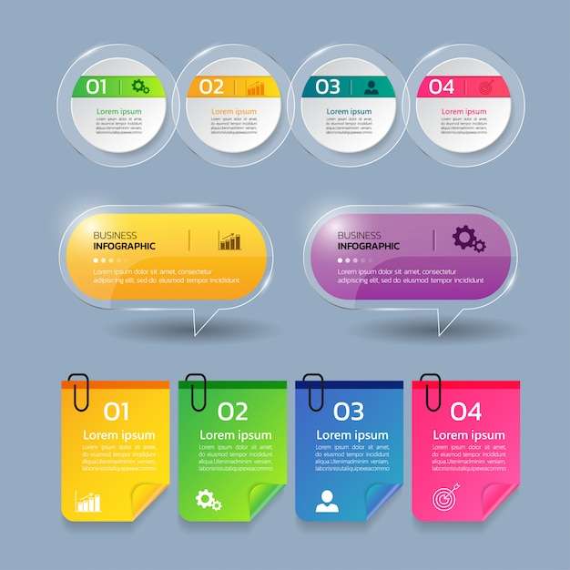 Collectie infographics sjabloon. Premium Vector