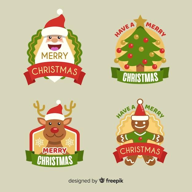 Collectie kerstetiketten in plat ontwerp Gratis Vector