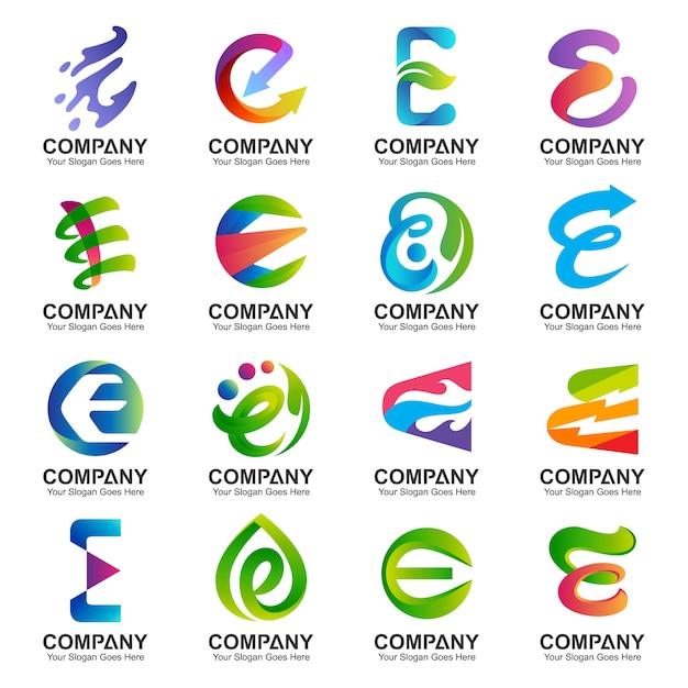 Collectie letter e logo Premium Vector