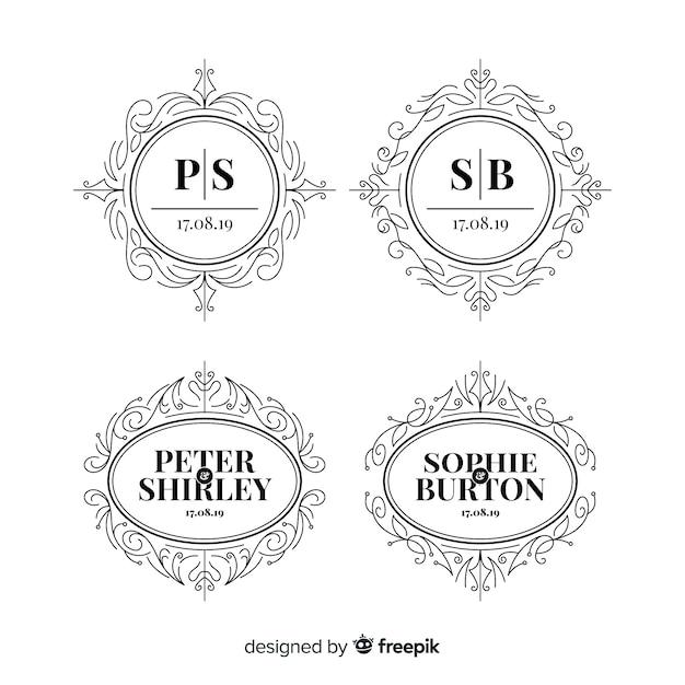 Collectie logo's van het monogram bruiloft Gratis Vector