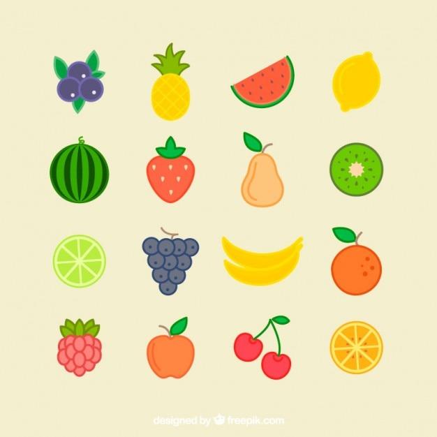 Collectie met platte zomerfruit Premium Vector