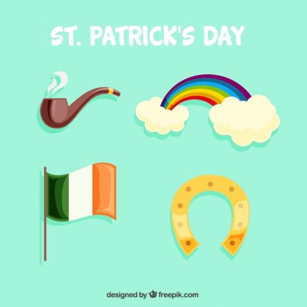 Collectie met vier objecten voor st. patrick's day Gratis Vector