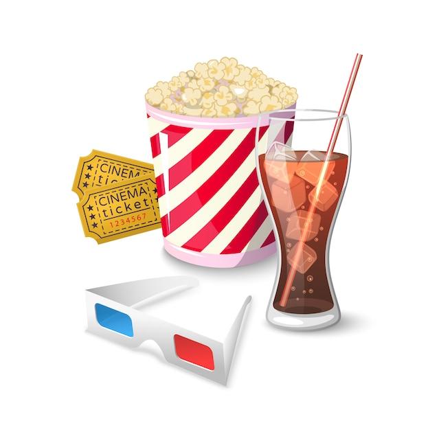 Collectie pictogram symbolen bij het bekijken van films in de bioscoop Premium Vector