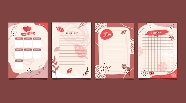 Collectie plakboeknotities en kaarten Gratis Vector