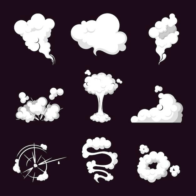 Collectie rookwolk, stoomexplosie, snelheid in beweging. Premium Vector