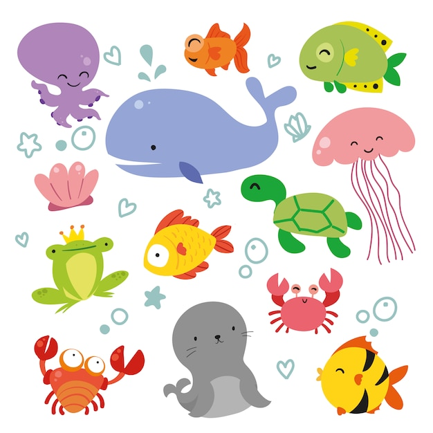 Collectie sealife dieren Gratis Vector