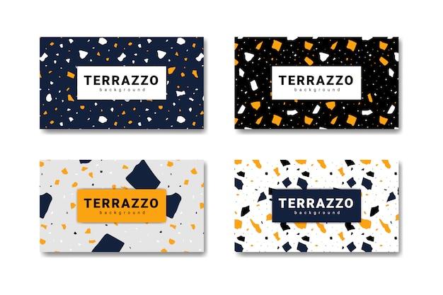 Collectie terrazzo abstracte vloeren Premium Vector