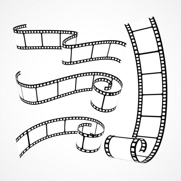 Collectie van 3d film strips op witte achtergrond Gratis Vector