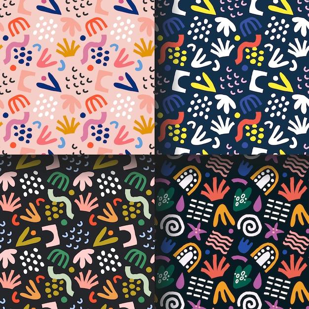 Collectie van abstracte tropische patronen Premium Vector