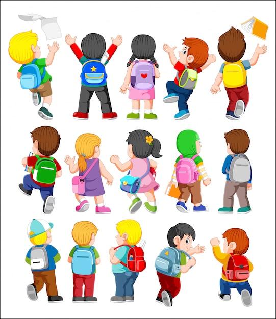 Collectie van achteraanzicht illustratie van kinderen die rugzakken dragen Premium Vector
