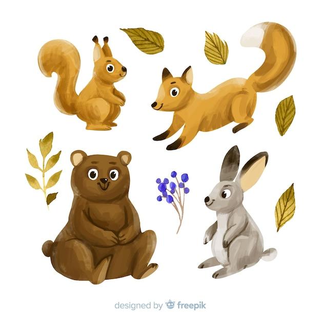 Collectie van aquarel herfst dieren Gratis Vector