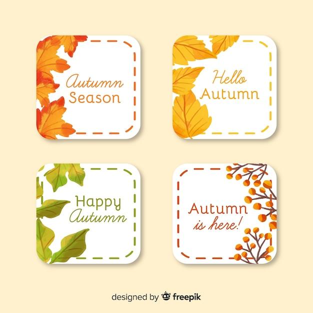 Collectie van aquarel herfst etiketten Gratis Vector