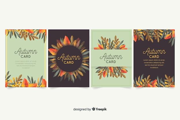 Collectie van aquarel herfst kaarten Gratis Vector