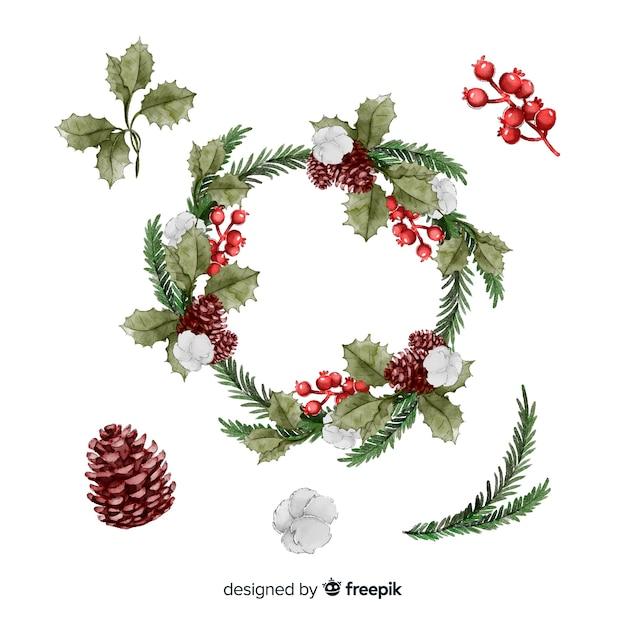 Collectie van aquarel kerst bloem Gratis Vector