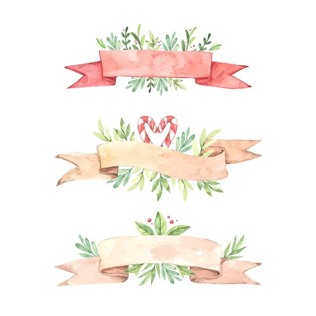 Collectie van aquarel kerst lint Gratis Vector