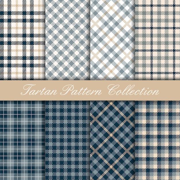 Collectie van blauwe elegante tartan patroon Premium Vector