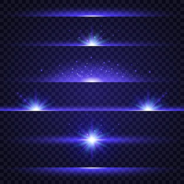 Collectie van blauwe lichteffecten op transparante achtergrond Premium Vector