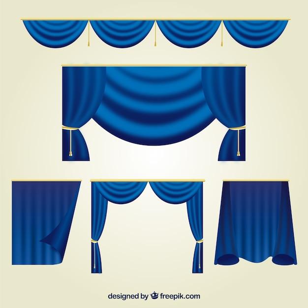 Collectie van blauwe theatergordijnen Gratis Vector