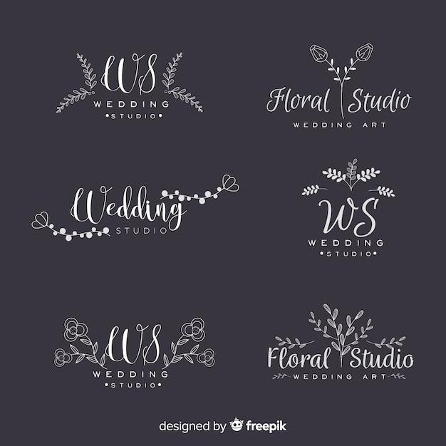 Collectie van bruiloft bloemist logo's Gratis Vector