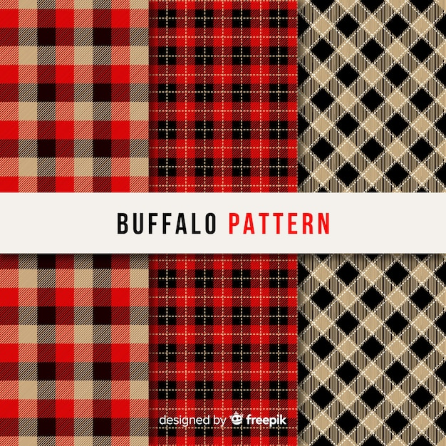 Collectie van buffalo patroon Gratis Vector