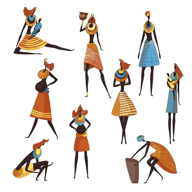 Collectie van cartoon afrikaanse vrouwen op witte achtergrond. Premium Vector
