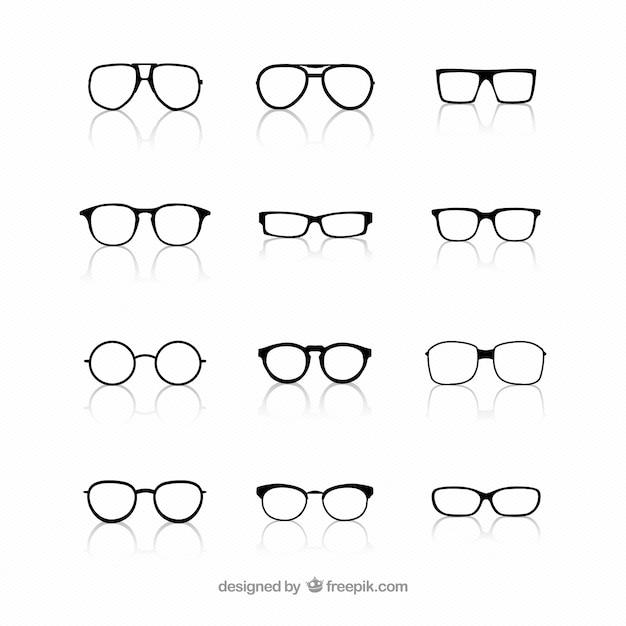 Collectie van een bril Gratis Vector