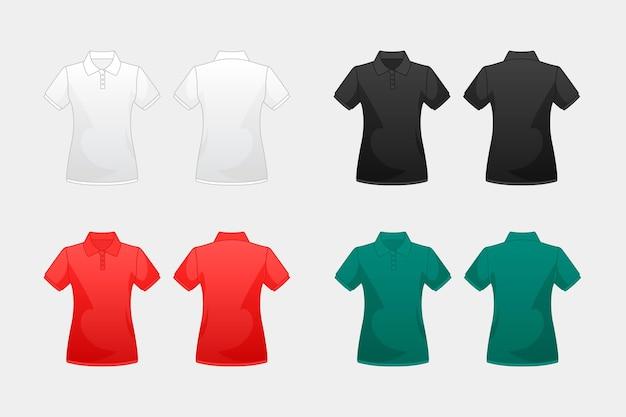 Collectie van gekleurde poloshirts Premium Vector