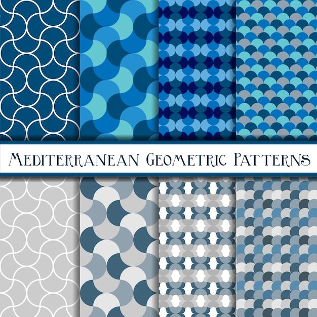 Collectie van geometrische blauwe schalen naadloze patronen Premium Vector
