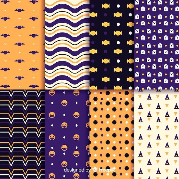 Collectie van geometrische halloween patroon Gratis Vector