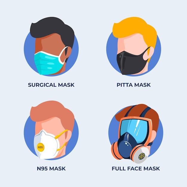 Collectie van gezichtsmaskers Gratis Vector