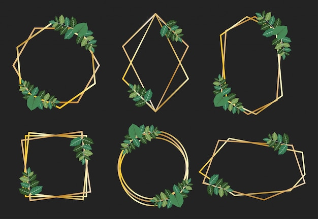 Collectie van gouden frames met groene bladeren ontwerp vector set Premium Vector
