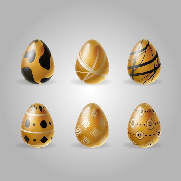 Collectie van gouden paaseieren Gratis Vector