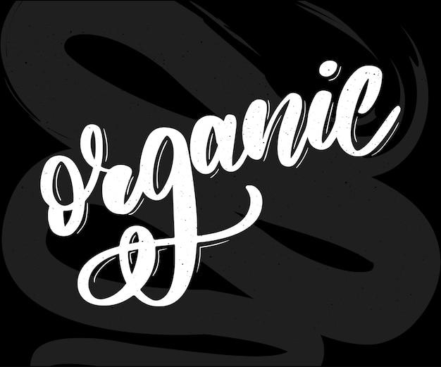 Collectie van groene gezonde organische natuurlijke eco bio food products belettering kalligrafie Premium Vector