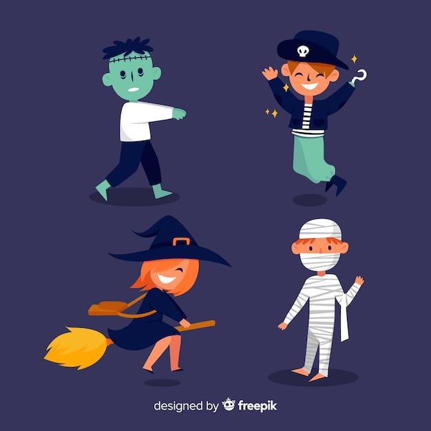 Collectie van halloween karakter plat ontwerp Gratis Vector