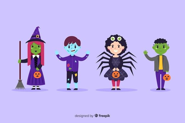 Collectie van halloween kind kostuums in plat ontwerp Gratis Vector