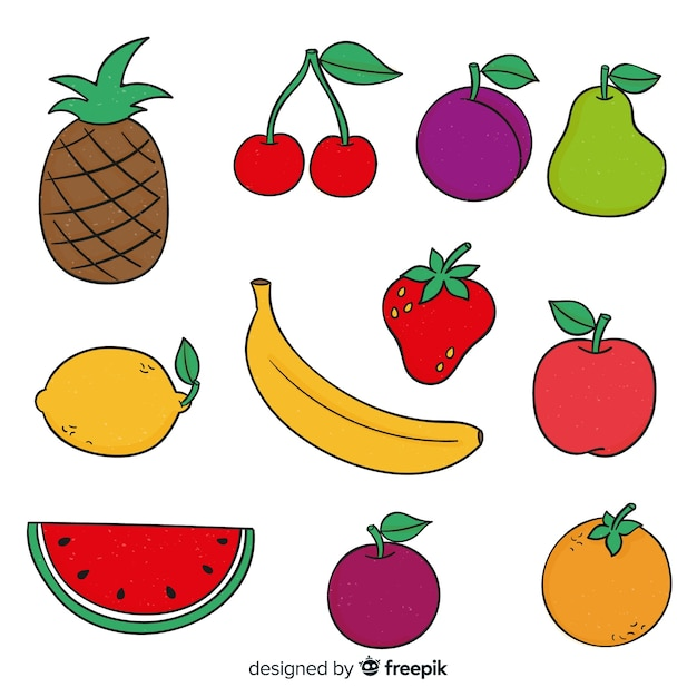 Collectie van hand getrokken fruit Gratis Vector