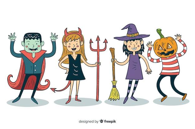 Collectie van hand getrokken halloween kind kostuums Gratis Vector