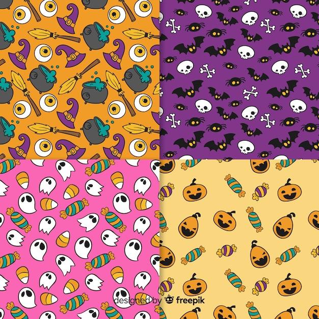 Collectie van hand getrokken halloween patroon Gratis Vector