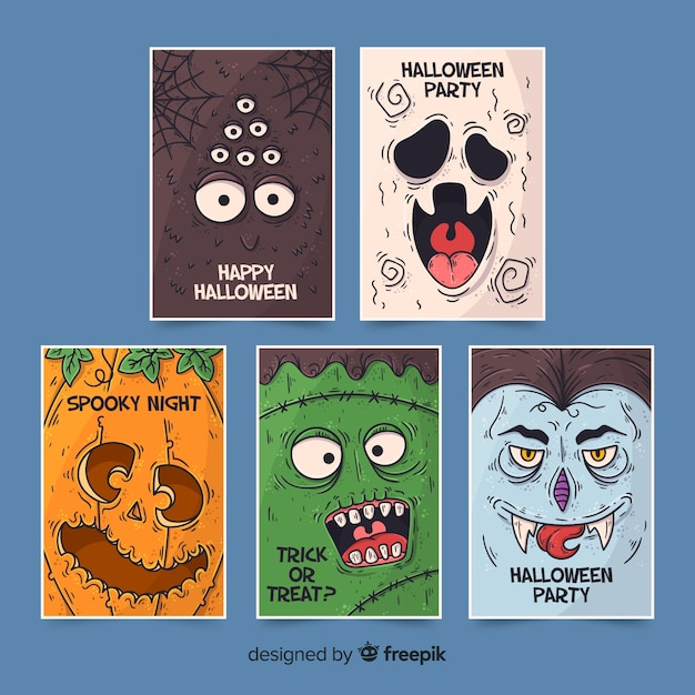 Collectie van hand getrokken halloween-personages Gratis Vector