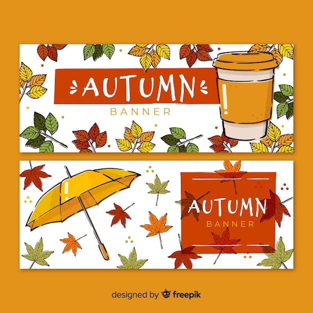 Collectie van hand getrokken herfst banners Gratis Vector
