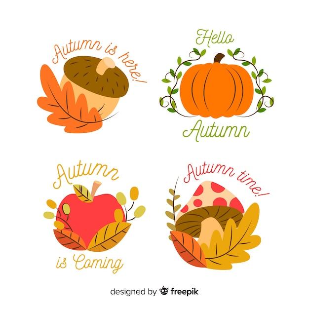 Collectie van hand getrokken herfst etiketten Gratis Vector
