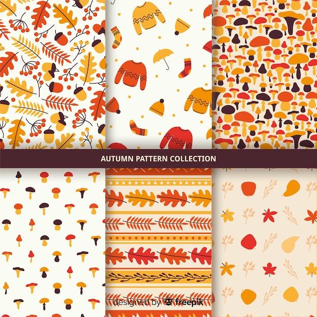 Collectie van hand getrokken herfst patroon Gratis Vector