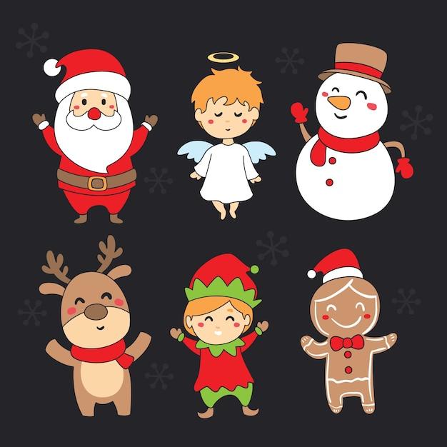Collectie van hand getrokken kerst tekens Gratis Vector