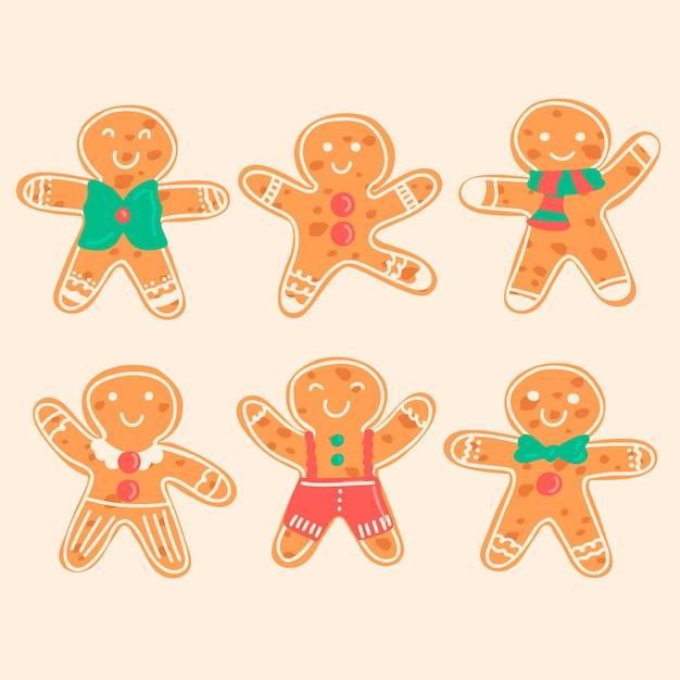 Collectie van hand getrokken peperkoek man cookie Gratis Vector