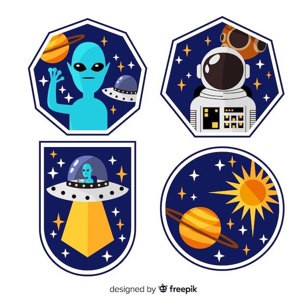 Collectie van hand getrokken ruimtestickers Gratis Vector