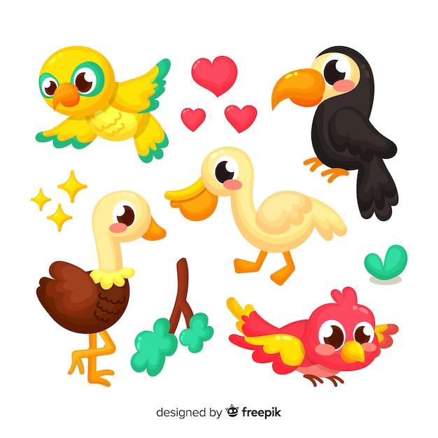 Collectie van hand getrokken vogels Gratis Vector