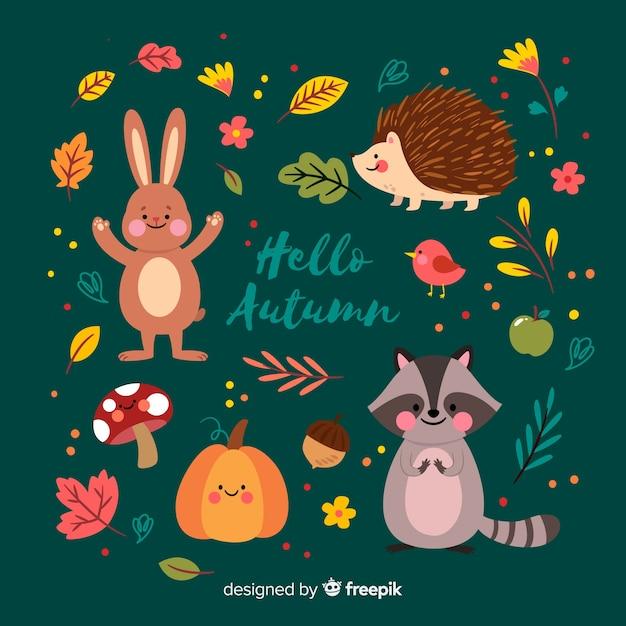 Collectie van herfst bos dieren plat ontwerp Gratis Vector