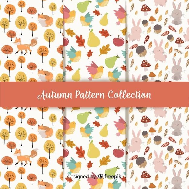 Collectie van herfst patronen platte ontwerp Gratis Vector