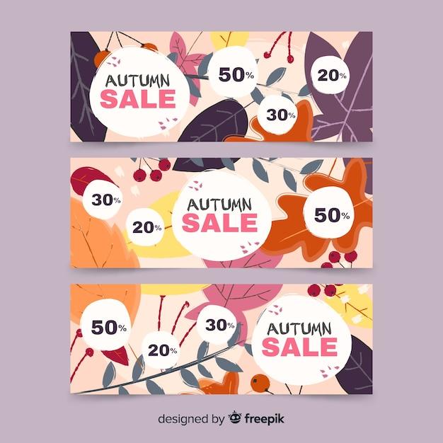 Collectie van herfst verkoop banner hand getrokken ontwerp Gratis Vector